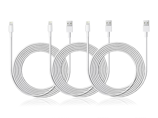 3-Pack 10-Ft MFi-Certified Lightning Cable (White)