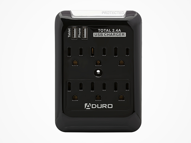 Aduro Surge Protector - 6-Outlet & 2-USB Port